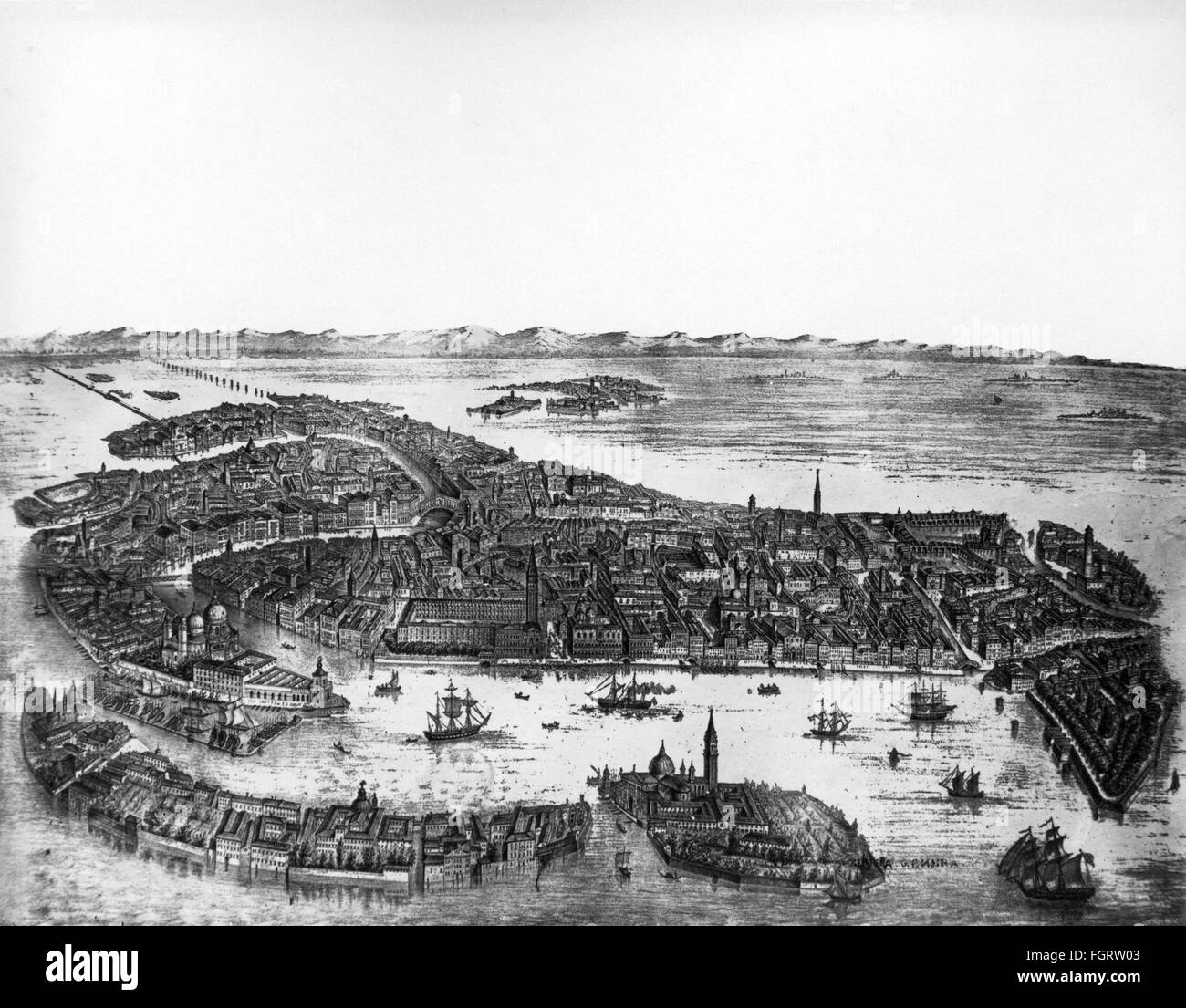 geography / travel, Italy, Venice, view, engraving, 19th century, Venezia, Canal Grande, isle, islands, lagoon, - Stock Image