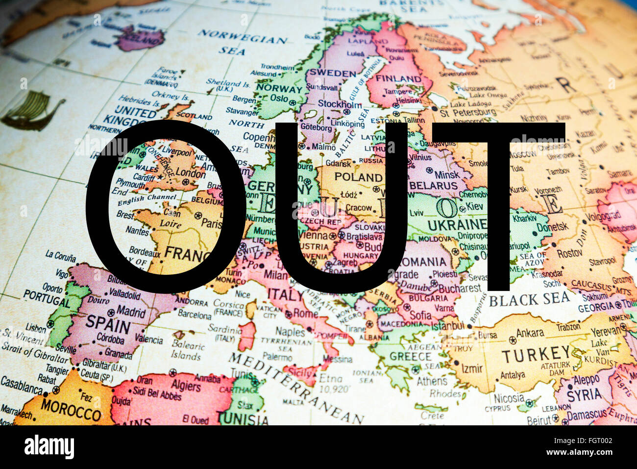 EU Referendum UK vote out ? in voting europe poll England GB Britain leave stay choose pick decide decision - Stock Image