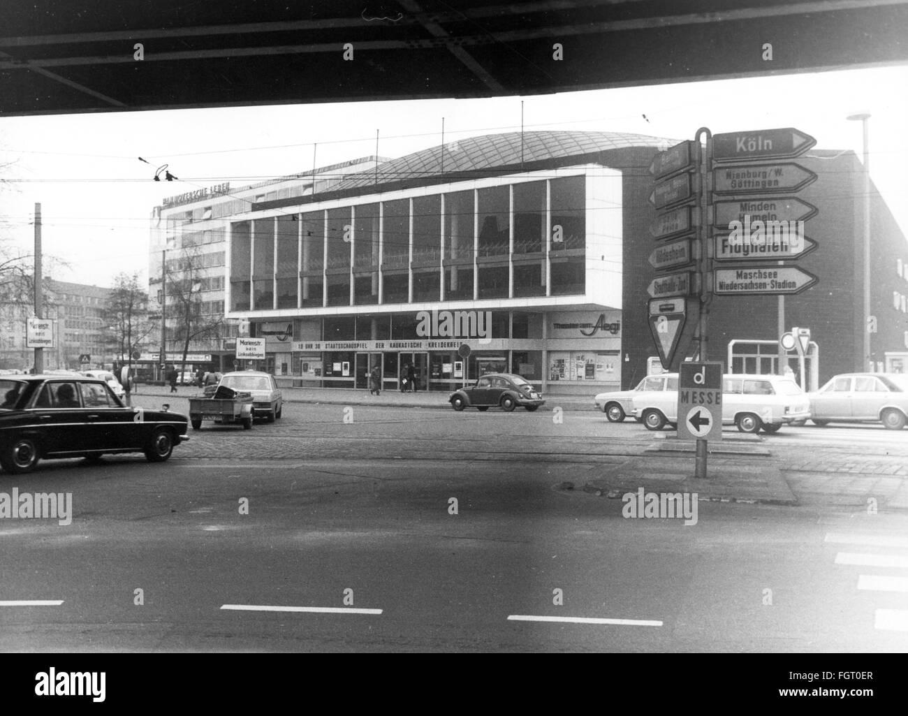 geography / travel, Germany, Hanover, theatre / theater, Theater am Aegi, Aegidientorplatz, exterior view, 1972, - Stock Image
