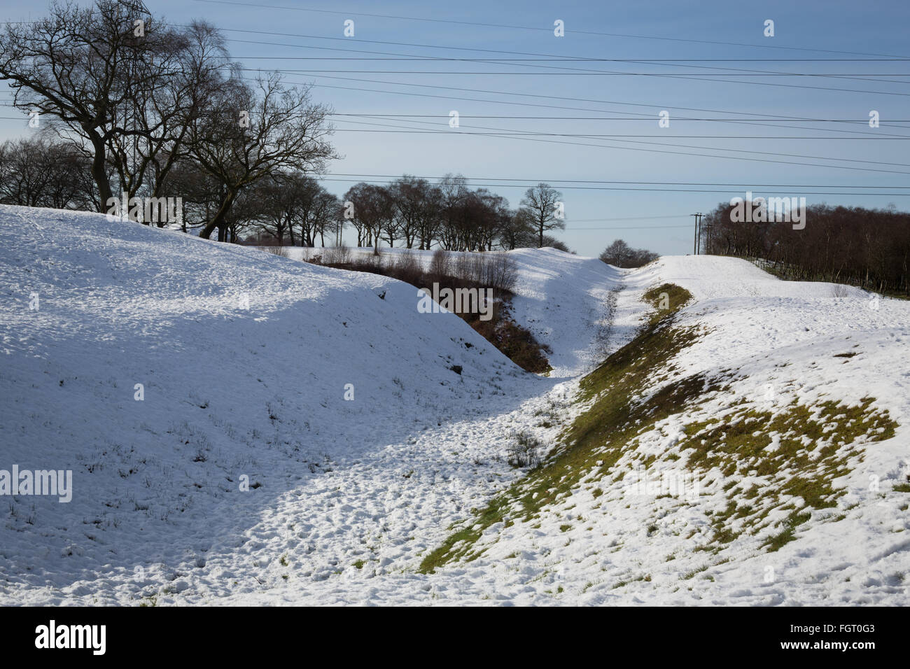 Ditch of the Roman era Antonine Wall, near Rough Castle Roman fort, in Falkirk, Scotland. - Stock Image