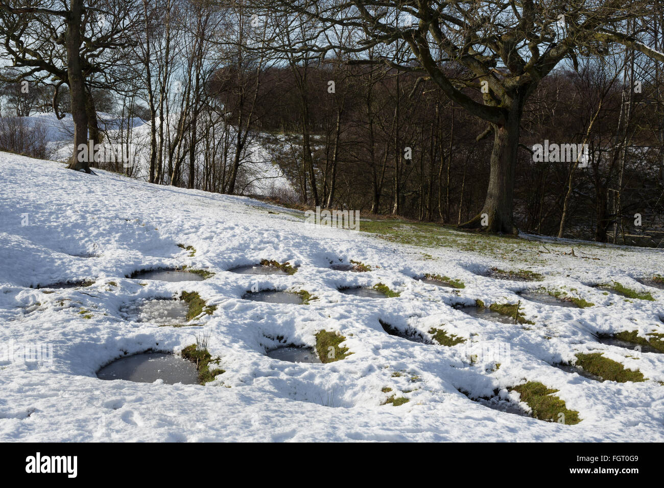 Defensive pits at Rough Castle Roman Fort on the Roman era Antonine Wall, in Falkirk, Scotland. - Stock Image