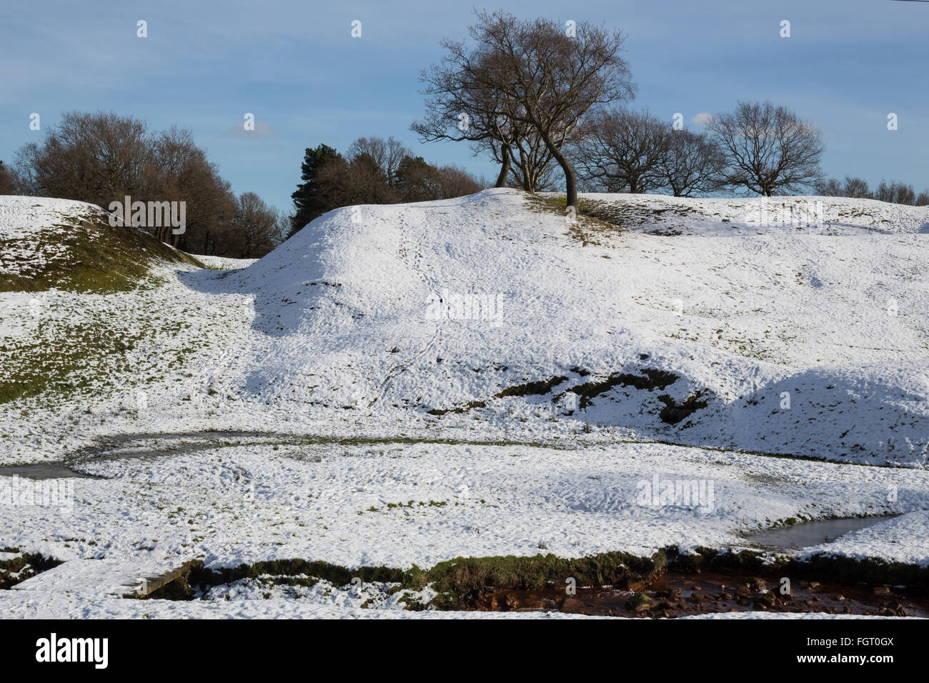 Rough Castle Roman Fort on the Roman era Antonine Wall, in Falkirk, Scotland. - Stock Image