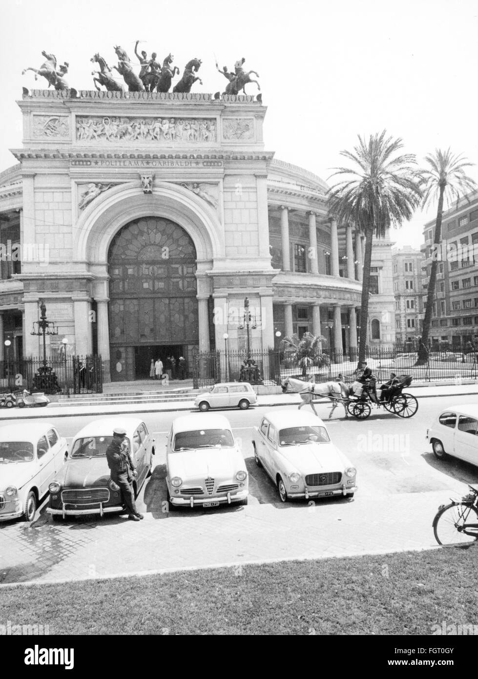 geography / travel, Italy, Palermo, buildings, Teatro Politeama Garibaldi, exterior view, 1950s, Additional-Rights Stock Photo