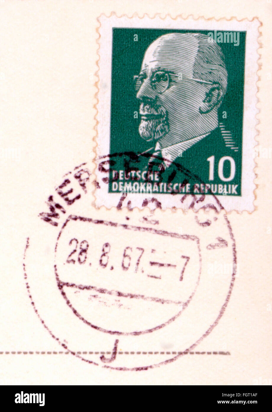 mail, postage stamps, Germany, Deutsche Post, 10 pfennig postage stamp, issue: 29.8.1960, portrait of Walter Ulbricht, - Stock Image