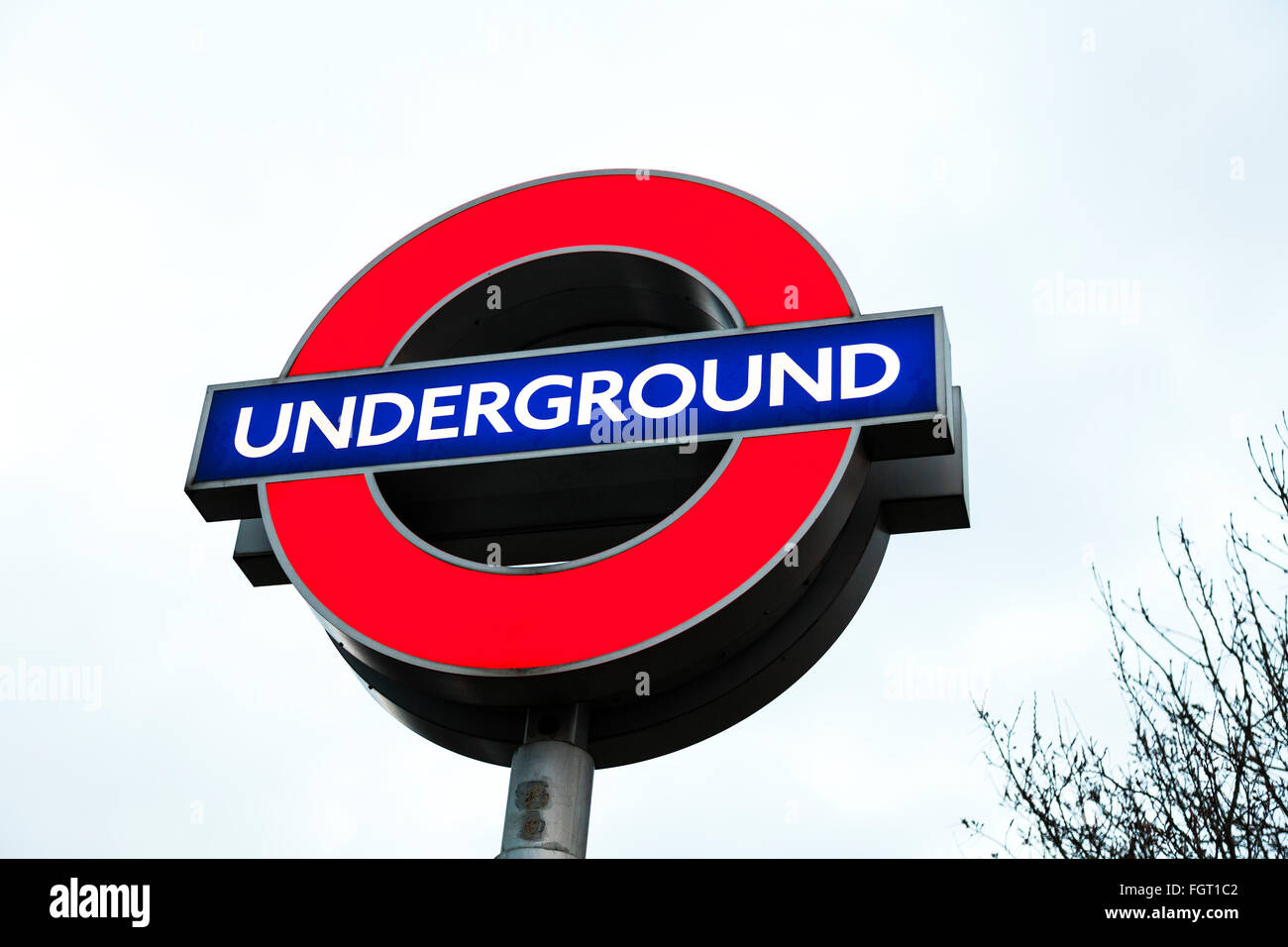 London underground tube station sign London UK train station against sky England GB - Stock Image