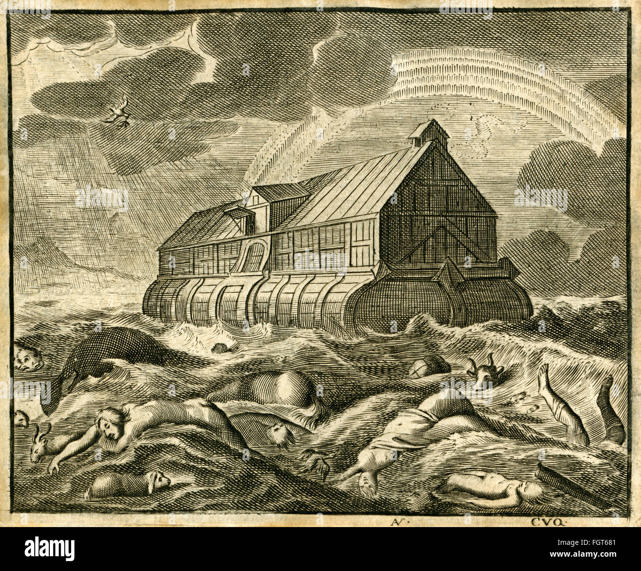 Noah's Ark, copperplate engraving from an dutch Bible, printed about 1700 religion, faith, Christianity, Noah´s - Stock Image
