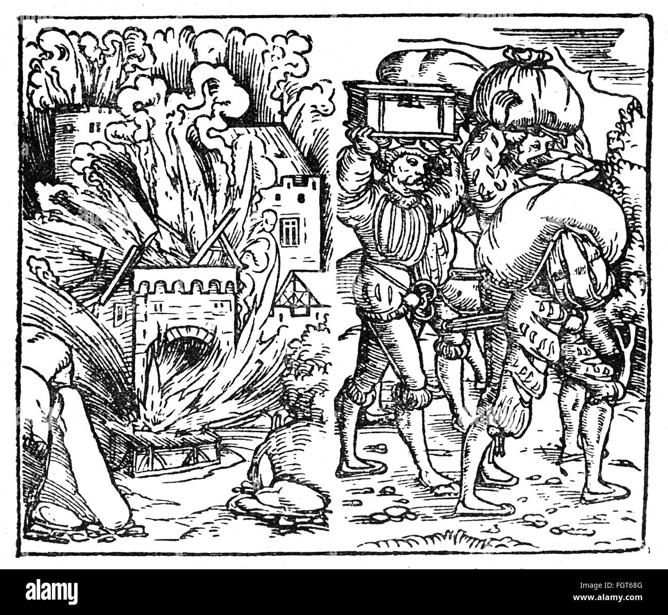 "Knights' Revolt 1522 - 1523, devastation and looting of castle Hohenburg in Alsace, 1523, woodcut, ""Warlicher Bericht Stock Photo"