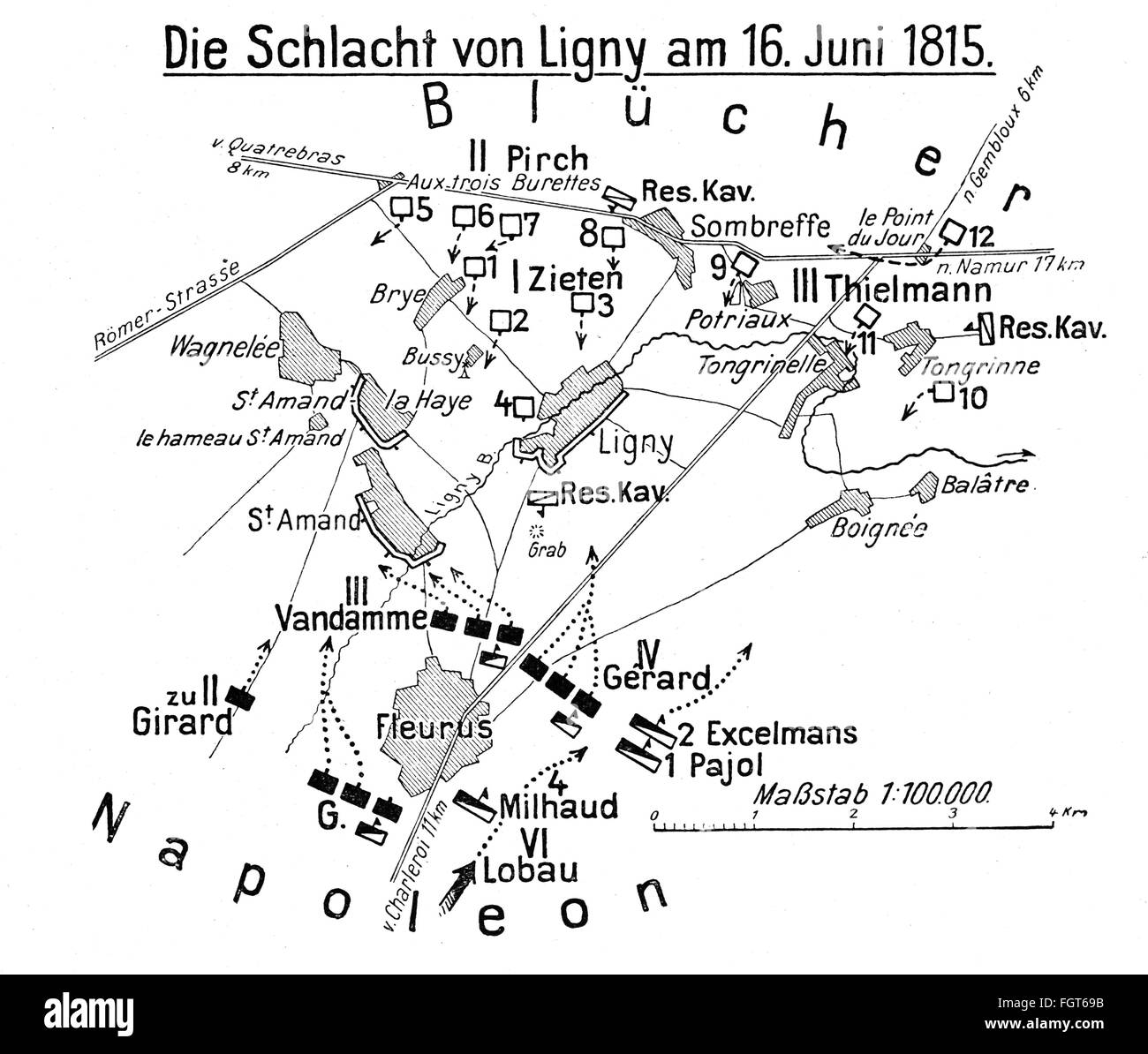 War of the Seventh Coalition 1815, Battle of Ligny, 16.6.1815, plan of action, drawing, 1913, Additional-Rights - Stock Image