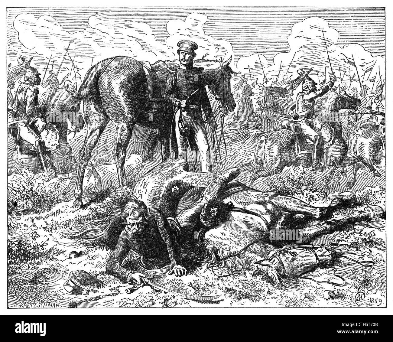 War of the Seventh Coalition 1815, Battle of Ligny, 16.6.1815, field marshal Gebhard Leberecht von Bluecher under - Stock Image
