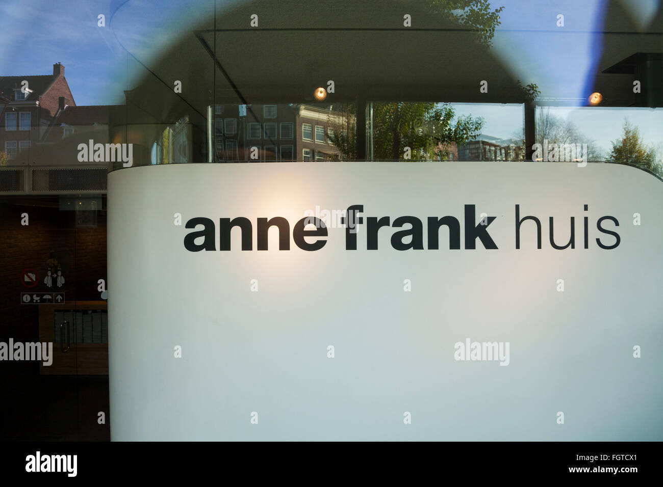 Sign at the front of Anne Frank 's House / museum in Amsterdam. Holland. The Netherlands. - Stock Image