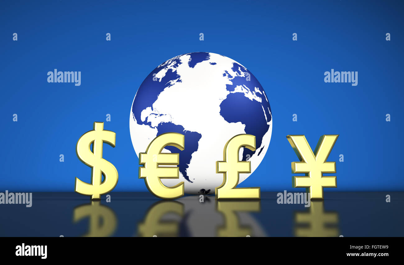 International World Economy With Currencies Symbols And A Globe With
