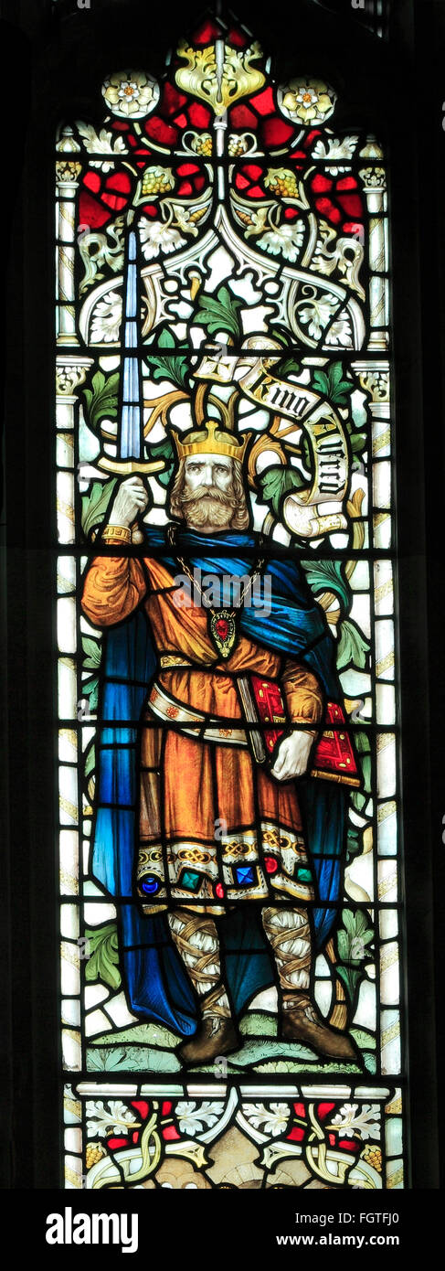 King Alfred the Great of Wessex, Saxon king kings, stained glass window by J. Powell & Son, 1900,  Blakeney, - Stock Image