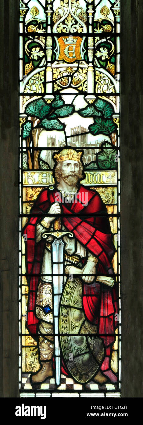 King Edwin of Northumbria, Saxon King, Kings, stained glass window by J. Powell & Son, 1900,  Blakeney, Norfolk - Stock Image