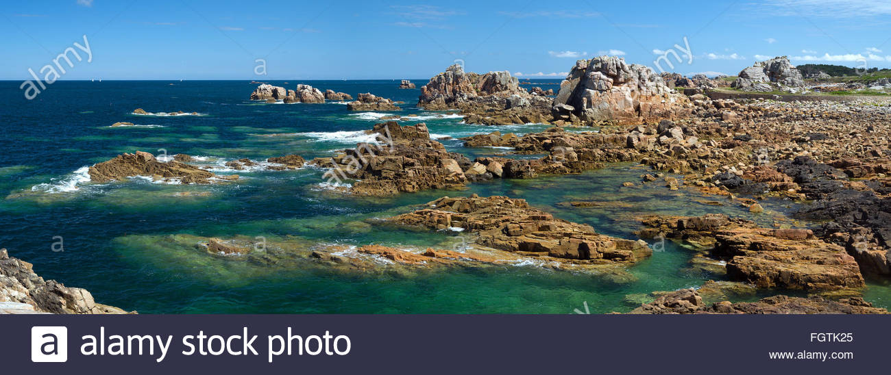 Brittany (France) : the pink granite coast - Stock Image