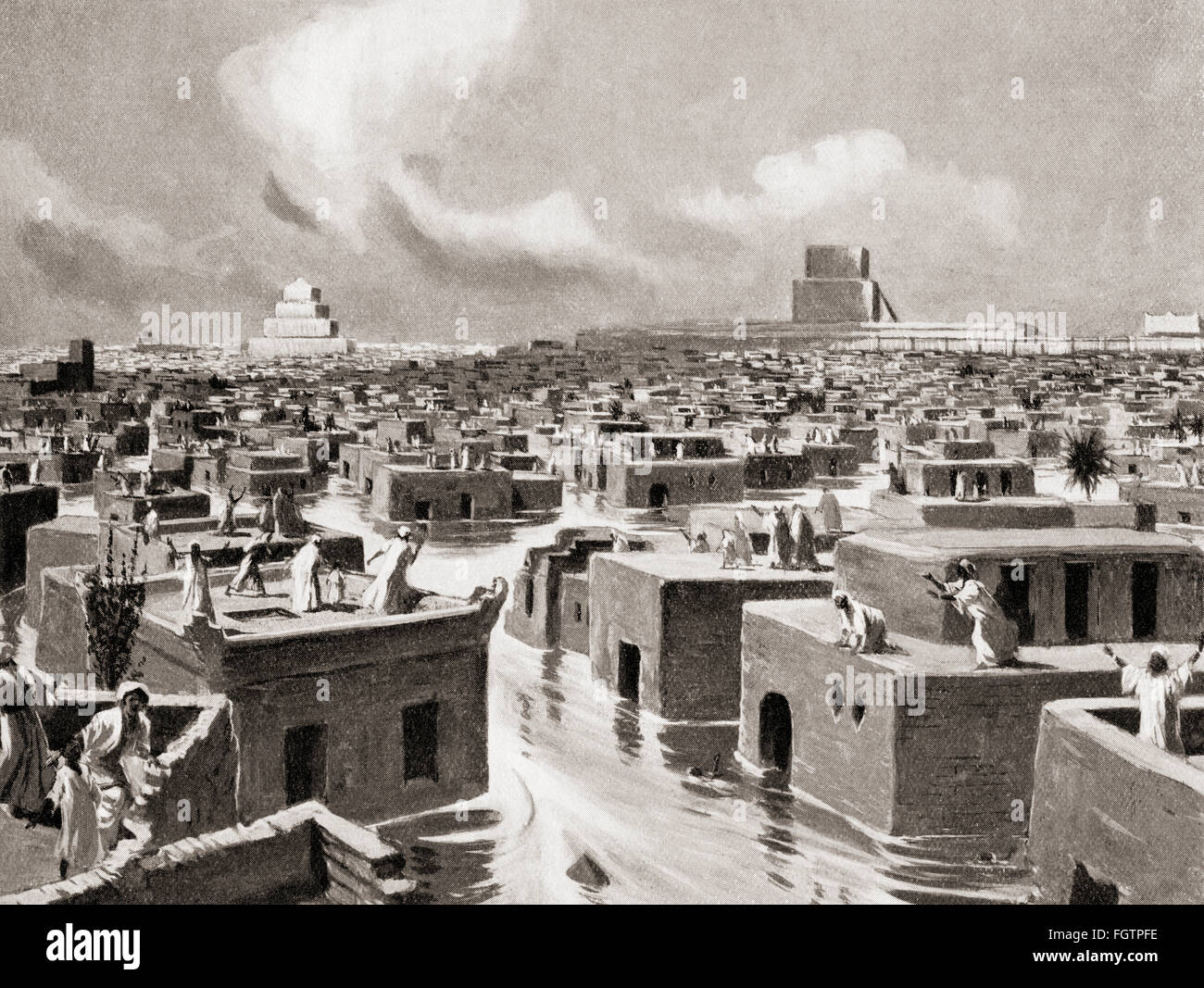 The destruction of Babylon by Sennacherib in 689 BC, when he diverted the course of the Euphrates so that its waters Stock Photo
