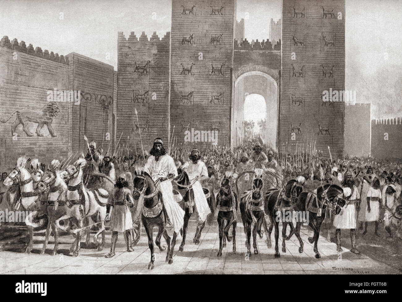 The state entry of Cyrus into Babylon, c. 540 BC.  Cyrus II of Persia, c. 600/ 576 – 530 BC, aka Cyrus the Greatand Stock Photo