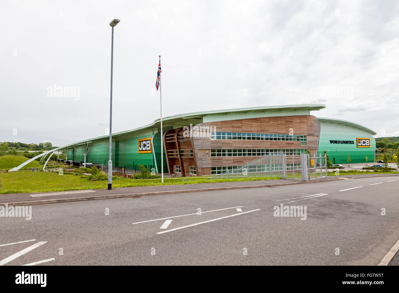 The JCB World Logistics distribution centre Blue Planet building at Chatterley Valley Stoke on Trent England UK - Stock Image