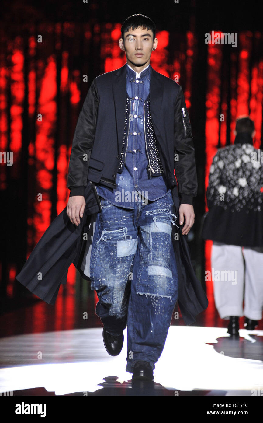 Milan Fashion Week Men s Fall Winter 2016 17 - Dsquared2 - Runway  Featuring  Model Where  Milan 84c6948db414