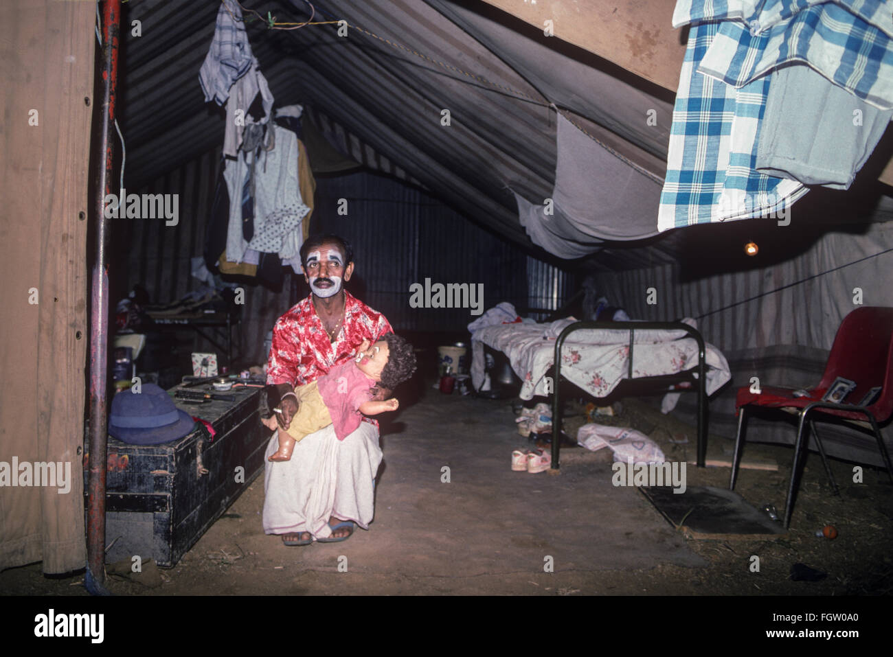 Circus Clown, Great Royal Circus, Bombay, India. - Stock Image