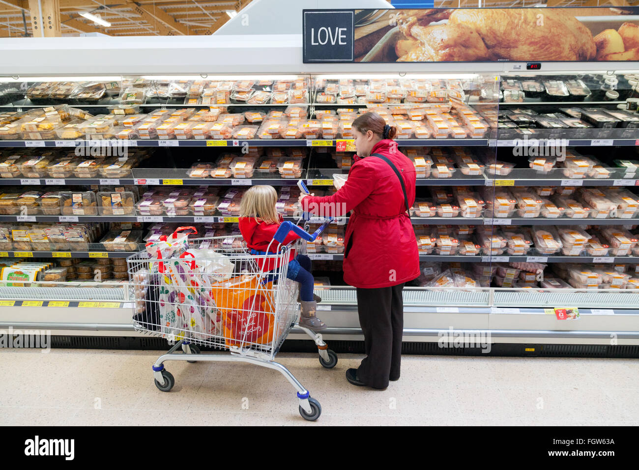 A mother with her child in a shopping trolley shopping in a supermarket, UK - Stock Image