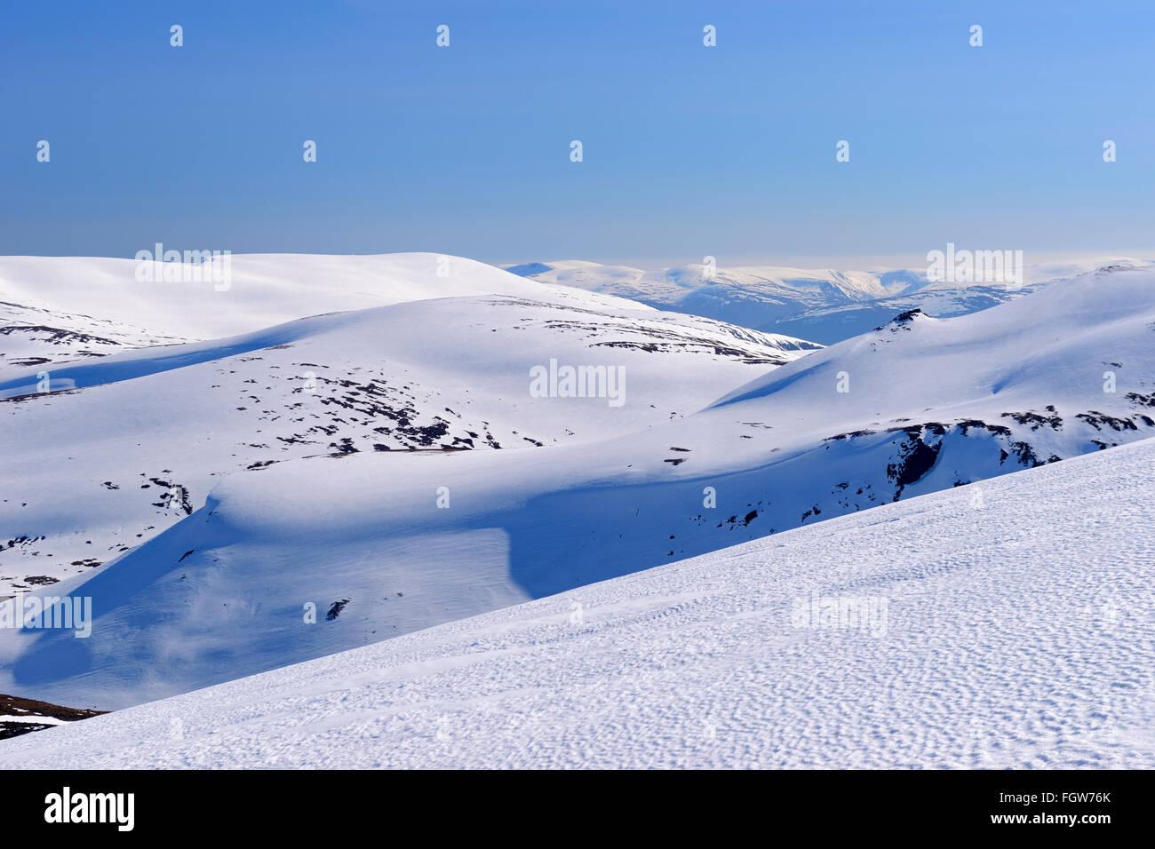 View across from Cairngorm Mountain Ski Centre, Aviemore, Scottish Highlands, UK - Stock Image