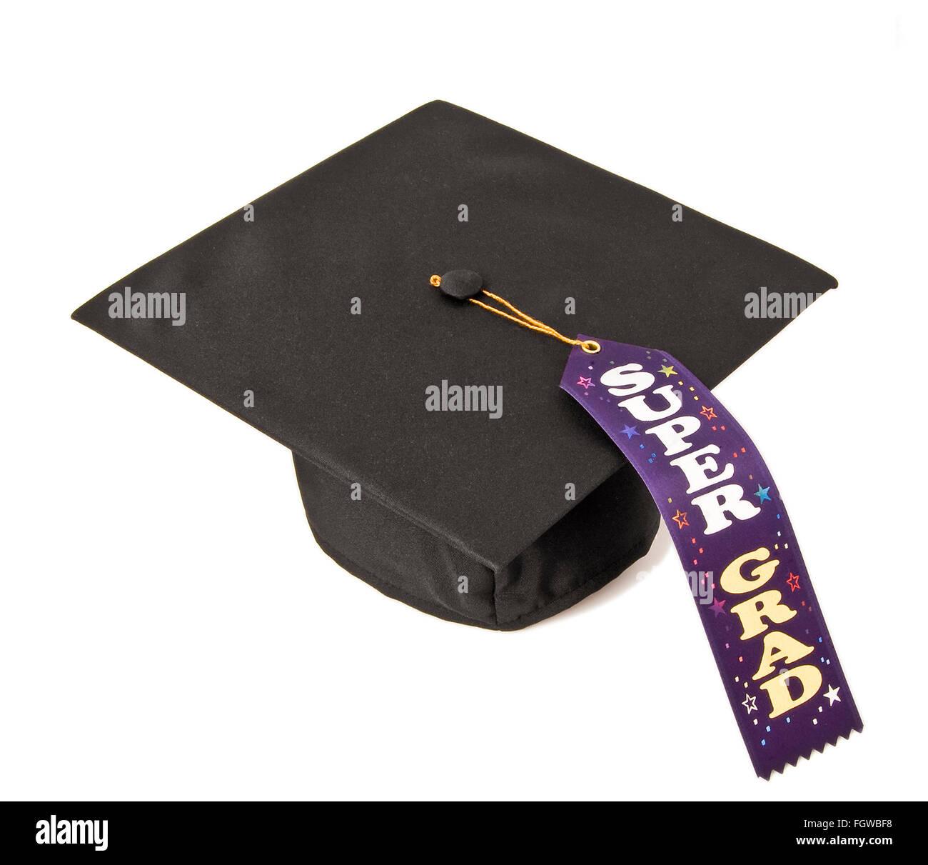 Super Grad Graduation Cap - Stock Image