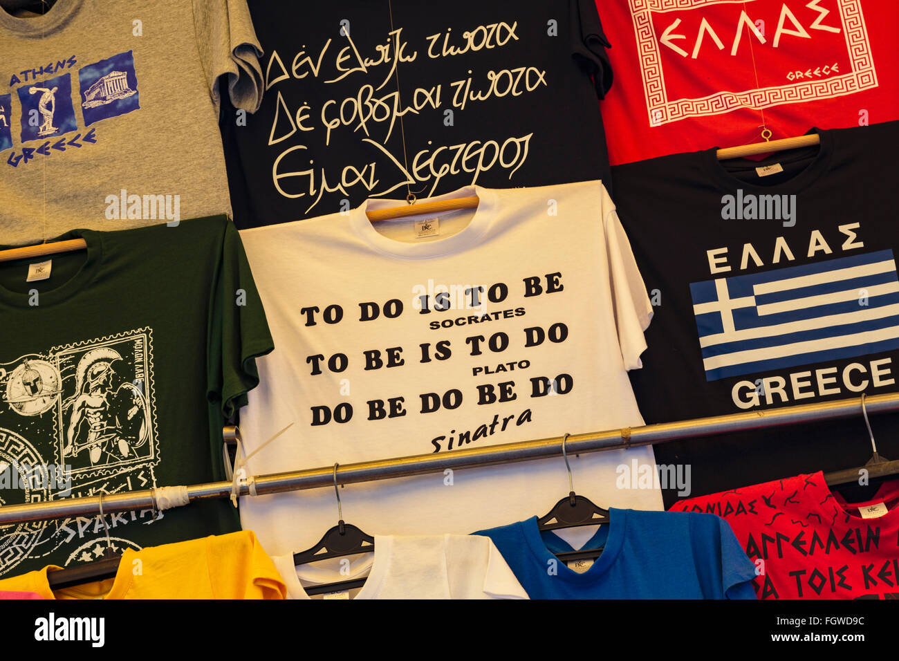 Greece.  T-shirts with amusing slogans for sale. - Stock Image