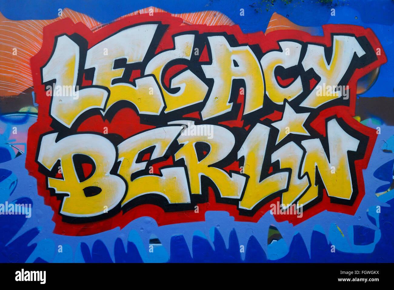 GER, Berlin, 20150830, Gleisdreieck, Parkanlage in Berlin, Graffittie, legacy berlin - Stock Image