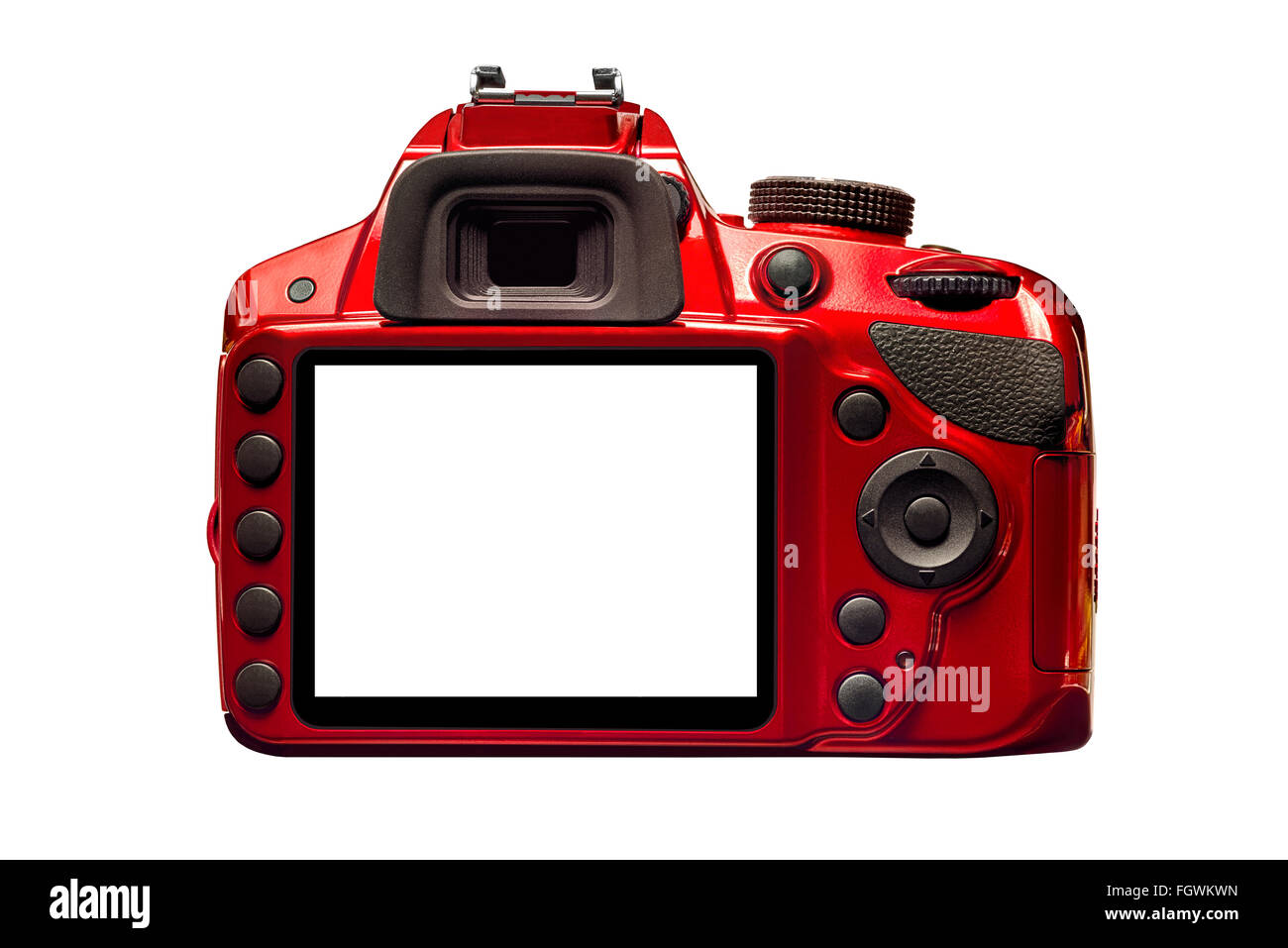 Red Camera Back With Blank Monitor - Stock Image