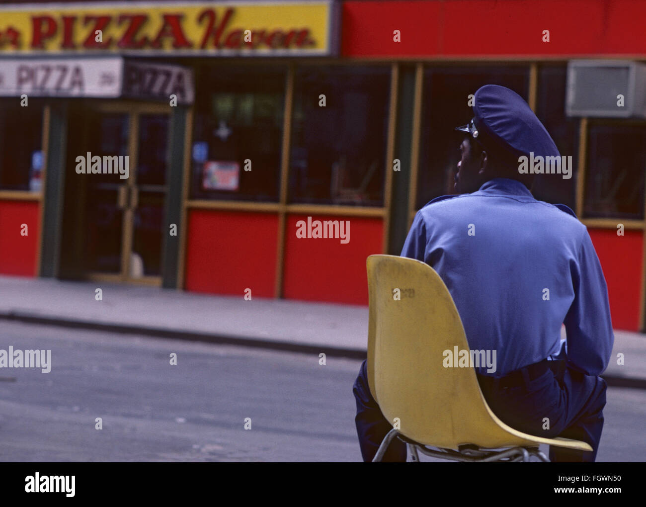 Security guard in New York street, 1981 - Stock Image