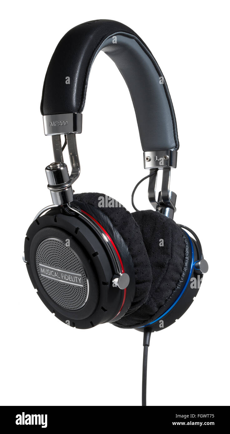 Musical Fidelity headphones. High quality sound listening device. - Stock Image