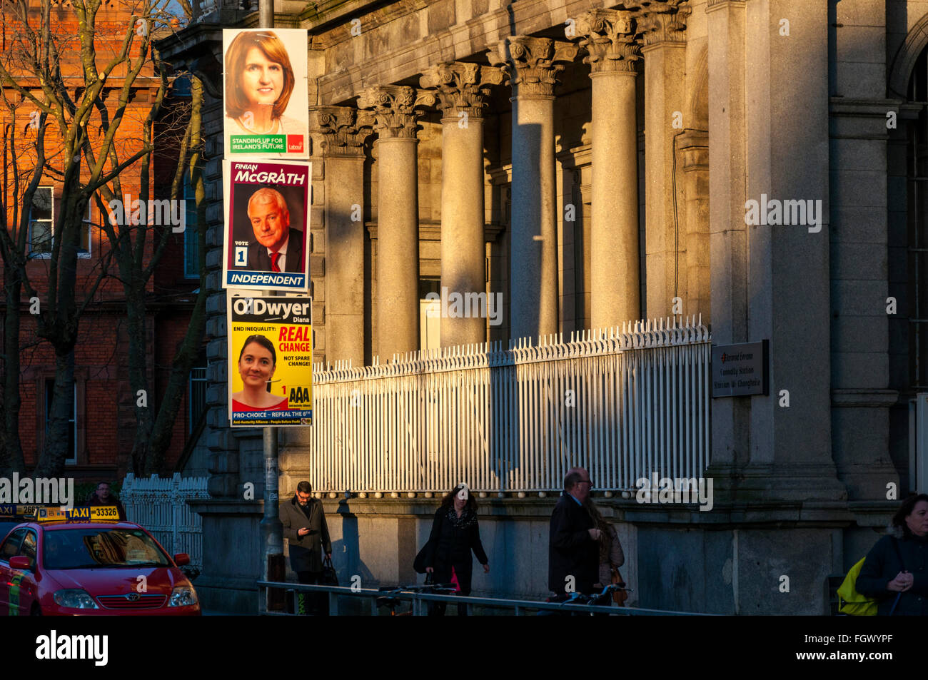 Dublin, Ireland. 22nd February 2016. Election posters by Connolly Railway Station in the capital. The Irish General - Stock Image