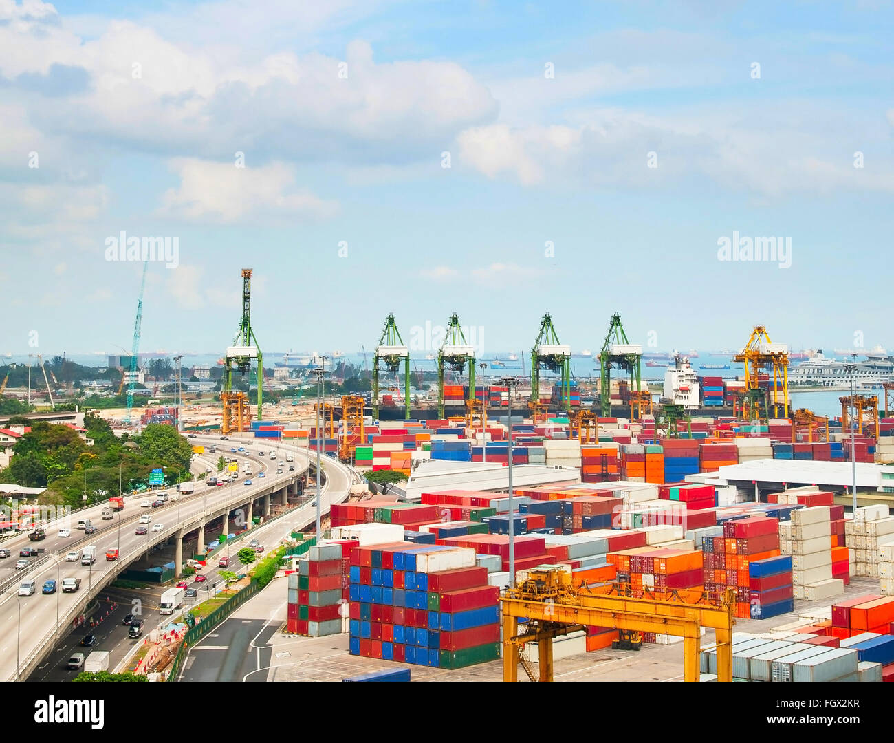 View of Singapore shipping port with many containers Stock Photo