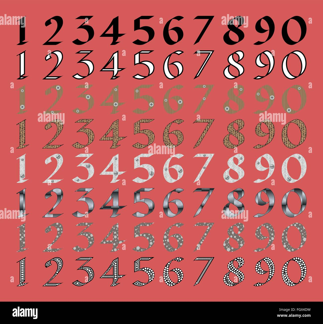 Calligraphic numeral set with different fills - Stock Image
