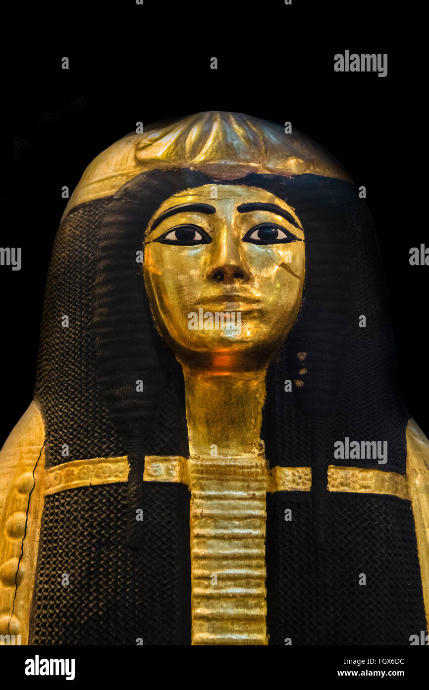 One of the gilded coffins of Henutmehyt, a Theban princess from the 19th Dynasty c.1250 BC, British Museum, Bloomsbury, - Stock Image