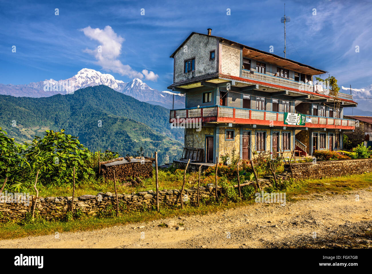 Guest House with a restaurant situated in the Himalayas mountains near Pokhara - Stock Image