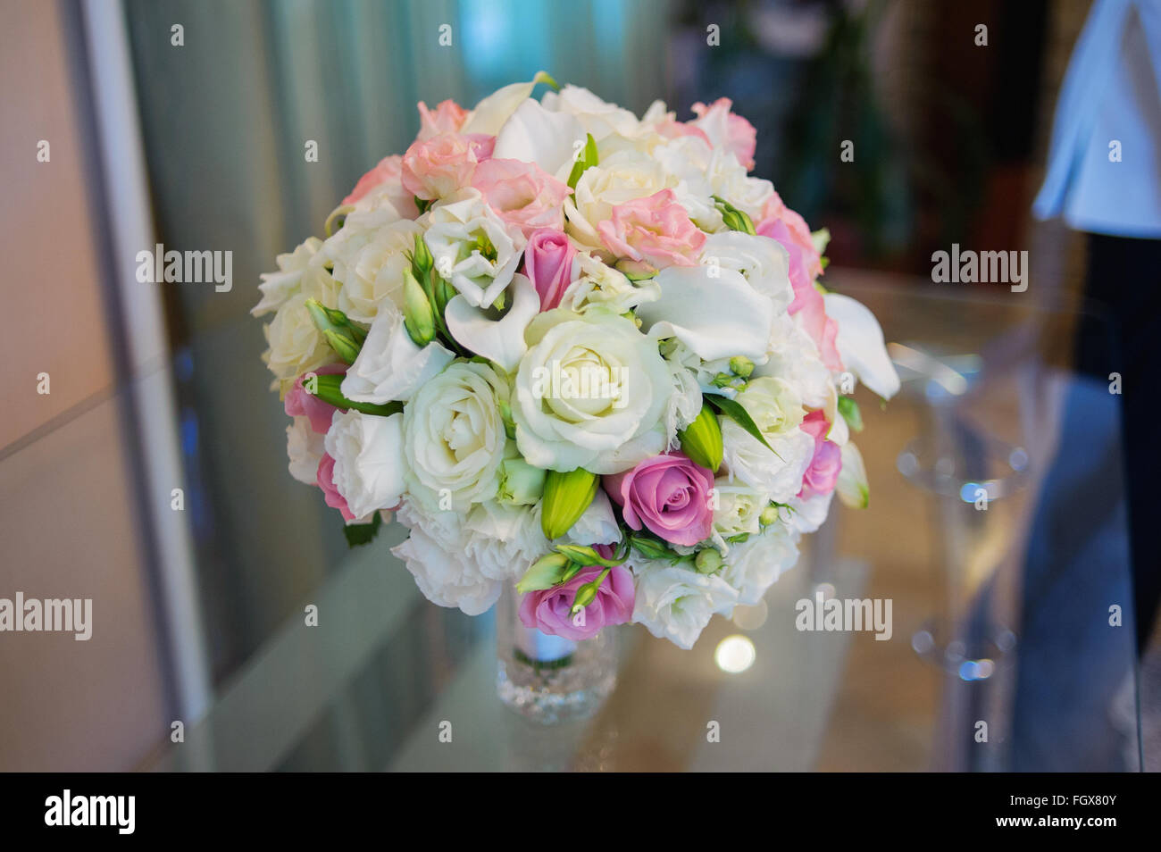 close up of beautiful wedding bouquet Bride on table - Stock Image
