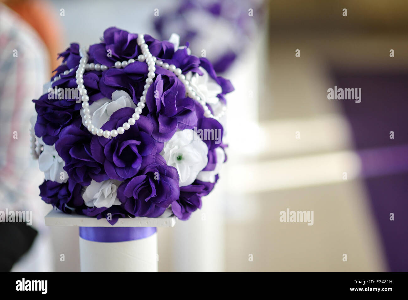 Beautiful wedding bouquet of purple and white flowers stock photo beautiful wedding bouquet of purple and white flowers izmirmasajfo