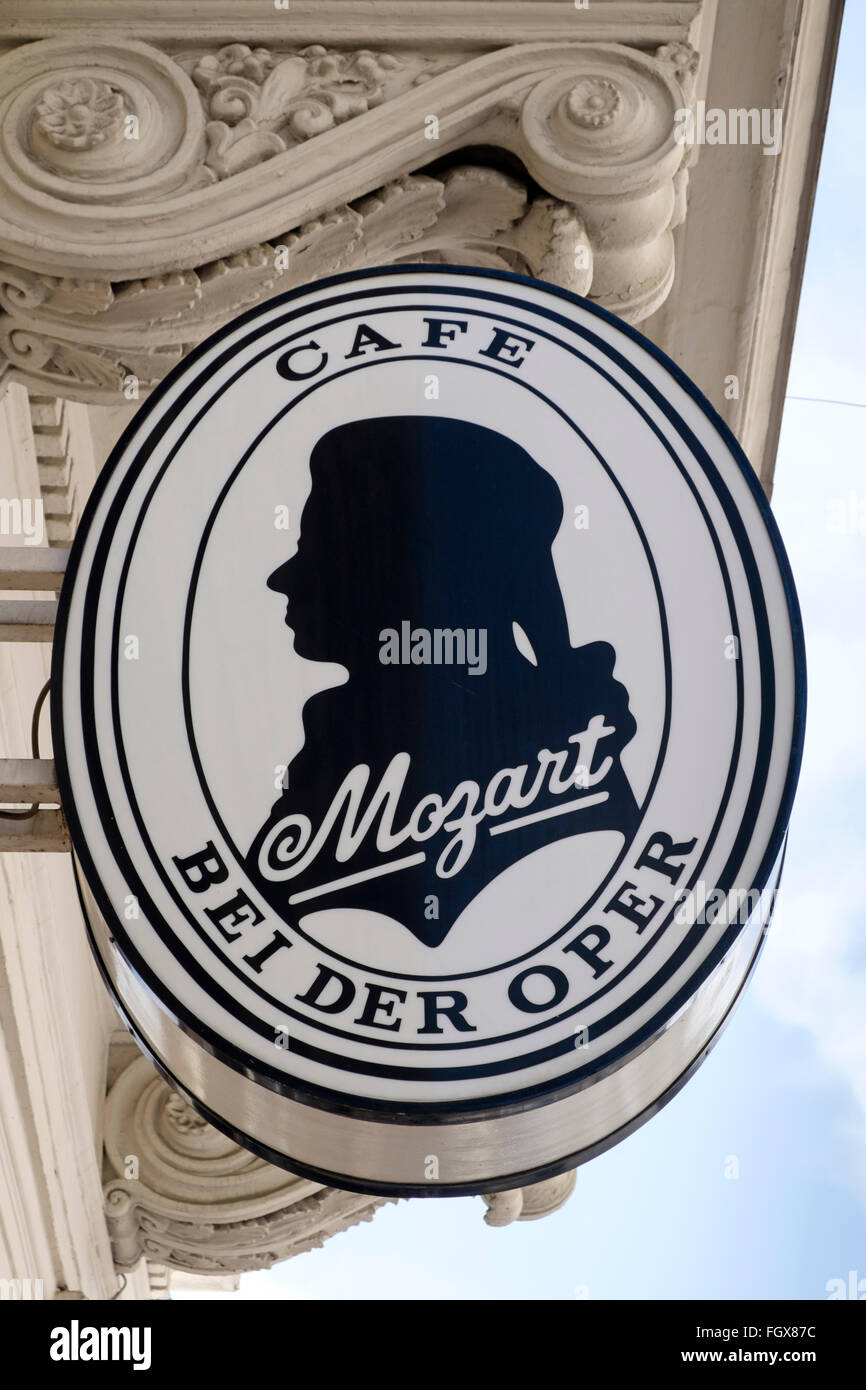 Sign for the famous Cafe Mozart coffeehouse on Albertinaplatz in Vienna, Austria. - Stock Image