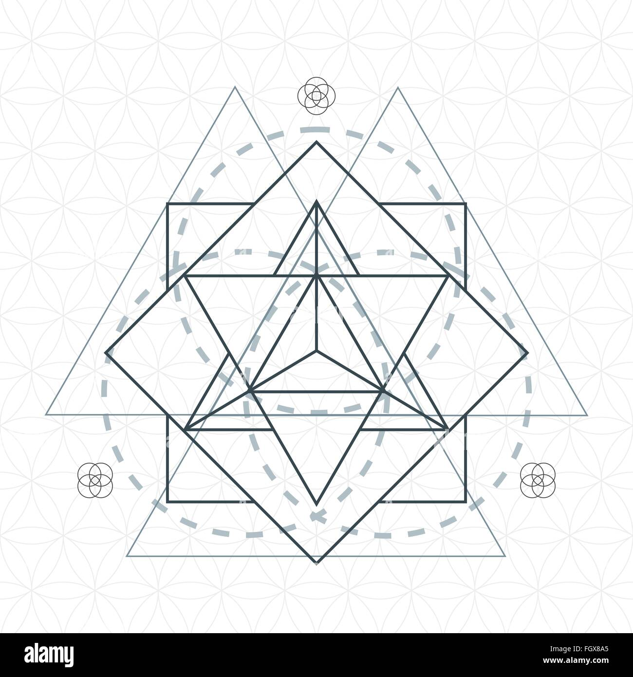 vector merkaba dark contour monochrome sacred geometry decoration flower of life circle isolated white background - Stock Image