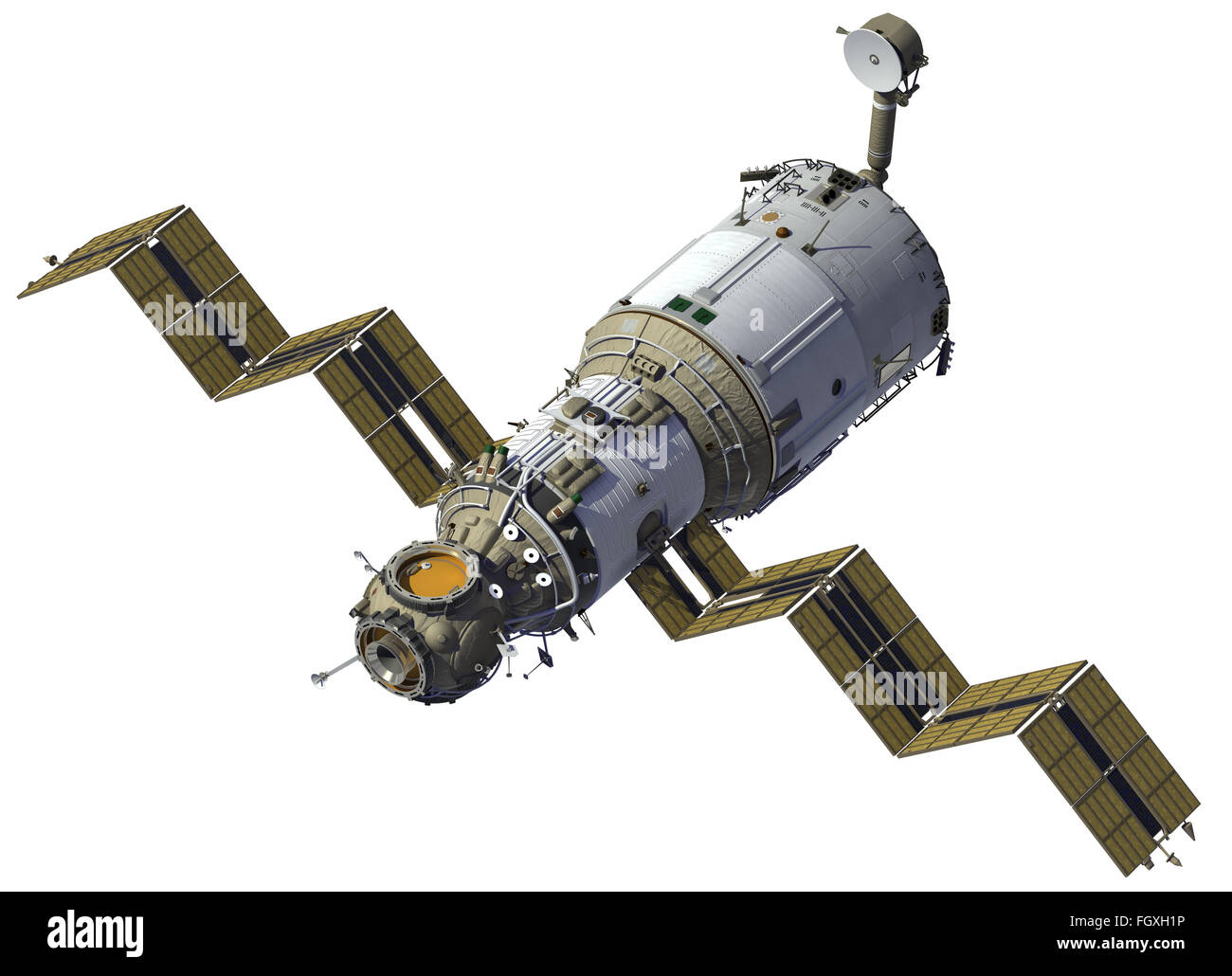 Space Station Deploys Solar Panels. 3D Model. - Stock Image