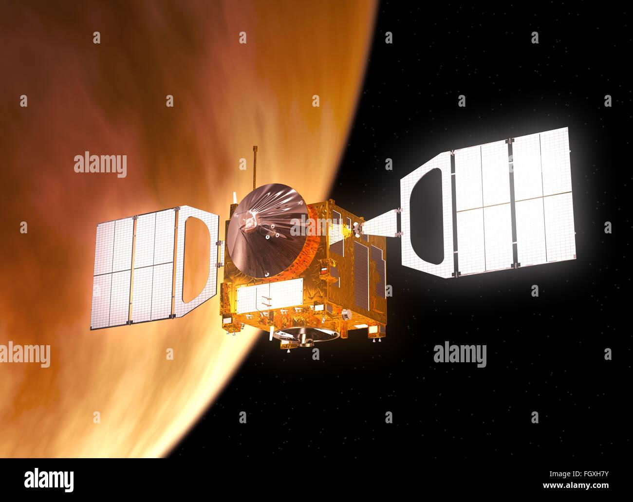 Interplanetary Space Station Orbiting Planet Venus. 3D Scene. - Stock Image