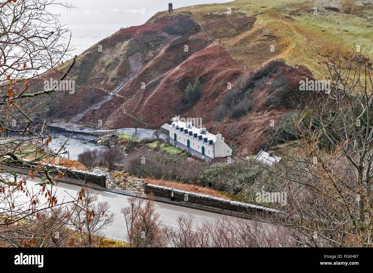 BERRIEDALE BRAES BERRIEDALE RIVER AND PART OF THE  A9 ROAD BETWEEN HELMSDALE AND LYBSTER CAITHNESS SCOTLAND - Stock Image
