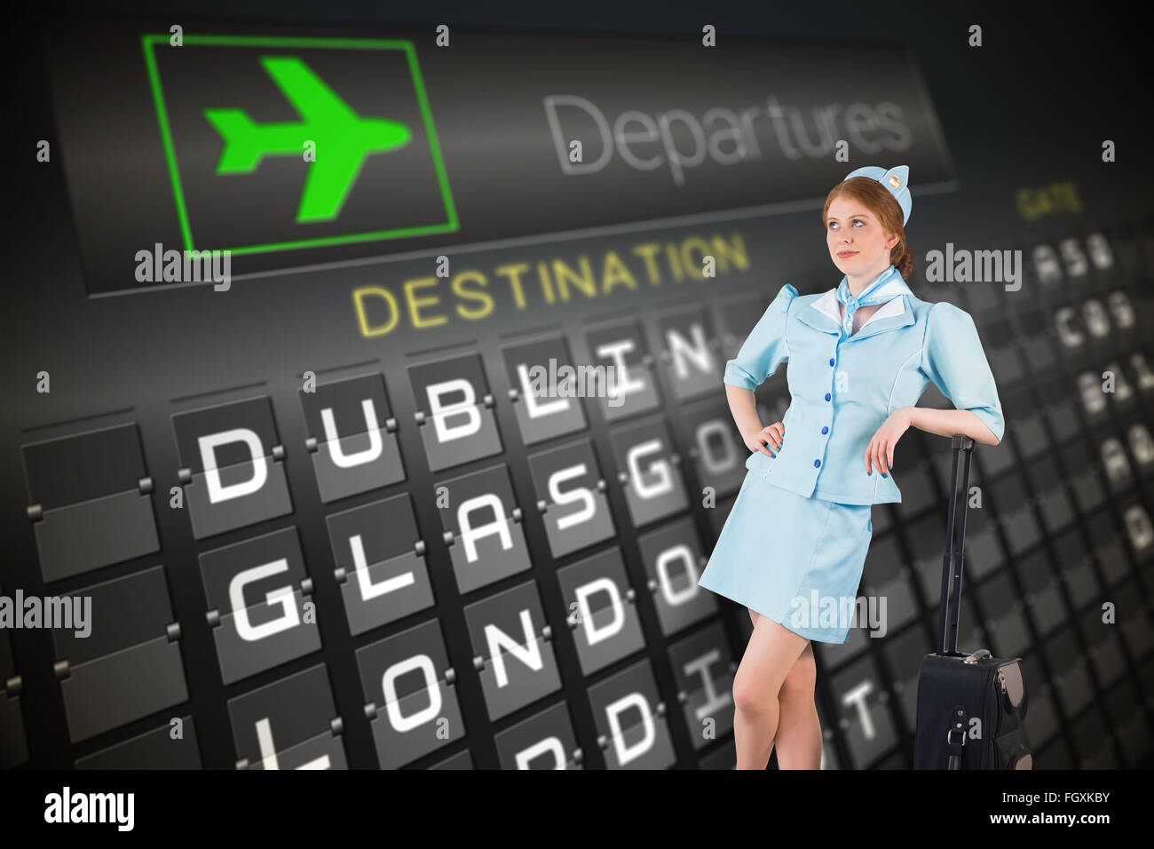 Composite image of pretty air hostess leaning on suitcase - Stock Image
