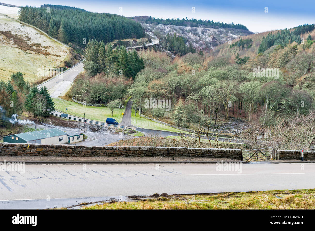 BERRIEDALE BRAES IN WINTER PART OF THE  A9 ROAD BETWEEN HELMSDALE AND LYBSTER CAITHNESS SCOTLAND - Stock Image