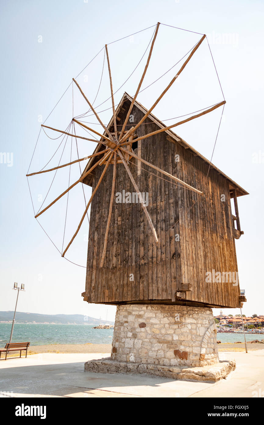 Old wooden windmill on the Isthmus, Nessebar, Bulgaria - Stock Image