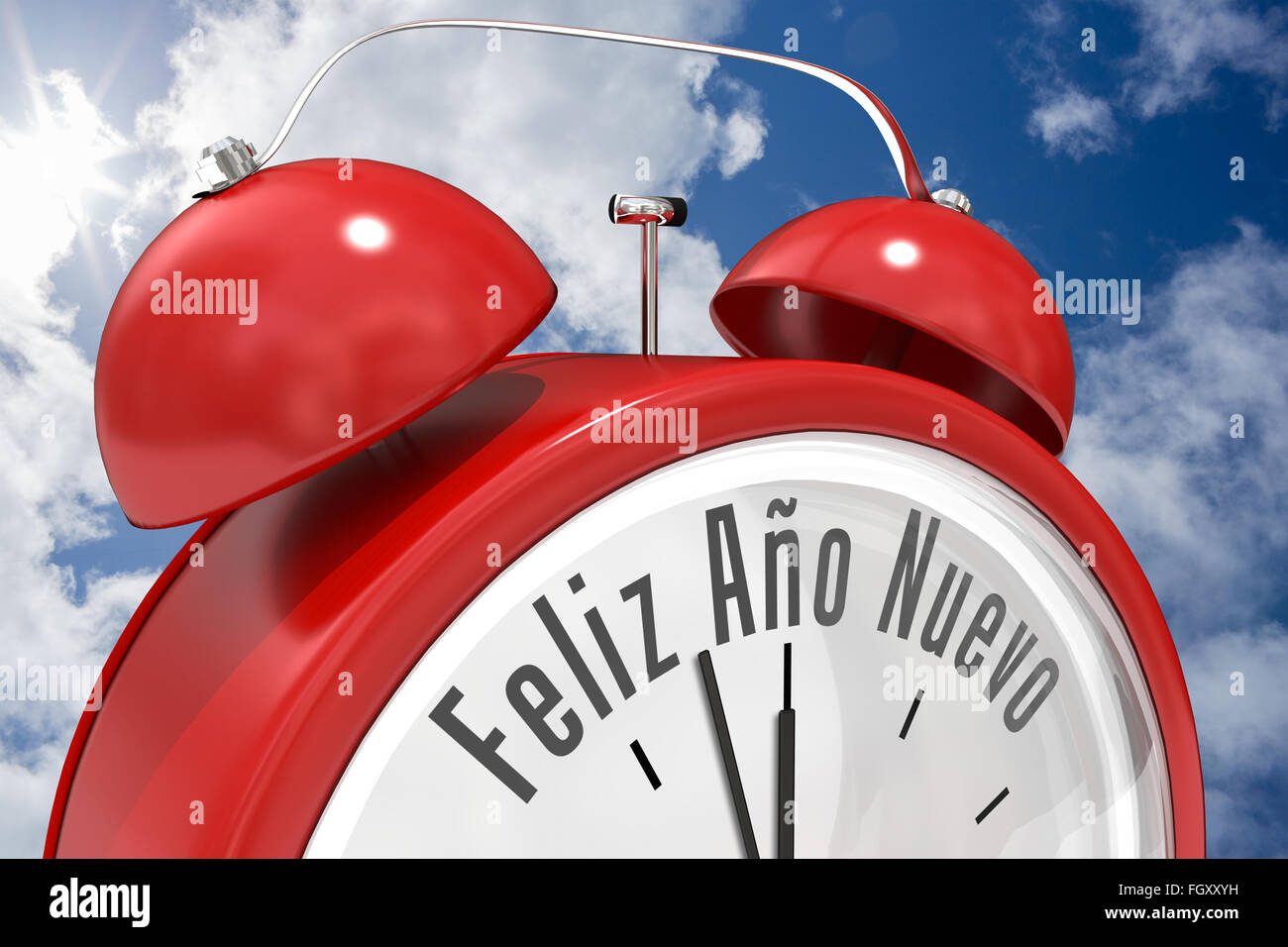 Composite image of feliz ano nuevo in red alarm clock - Stock Image
