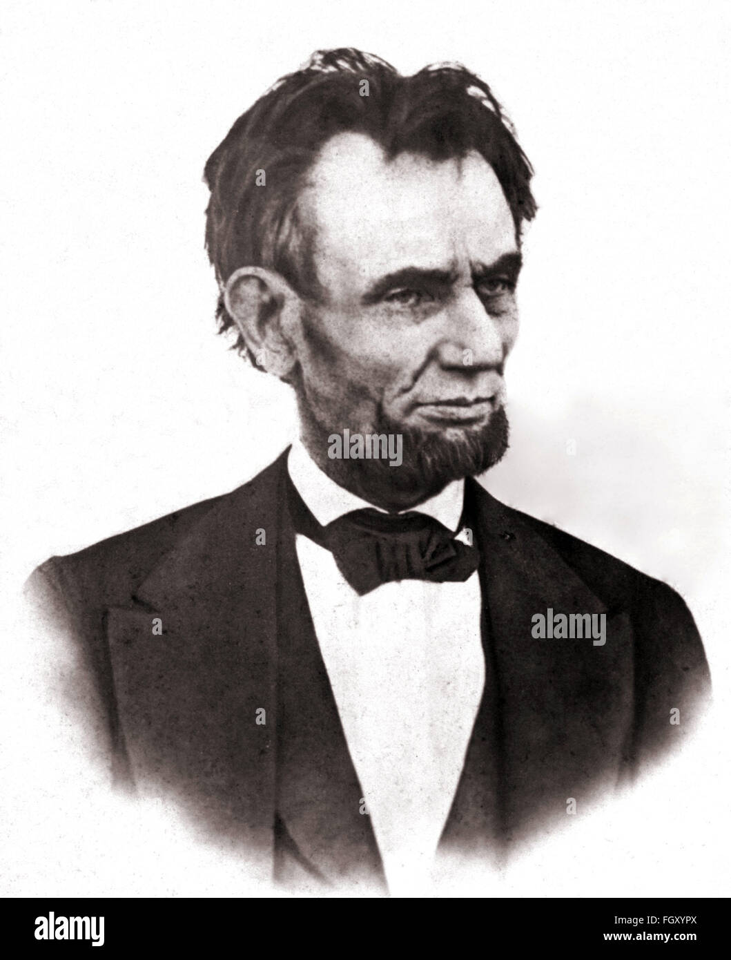 Photographic portrait of US President Abraham Lincoln in 1865 - Stock Image