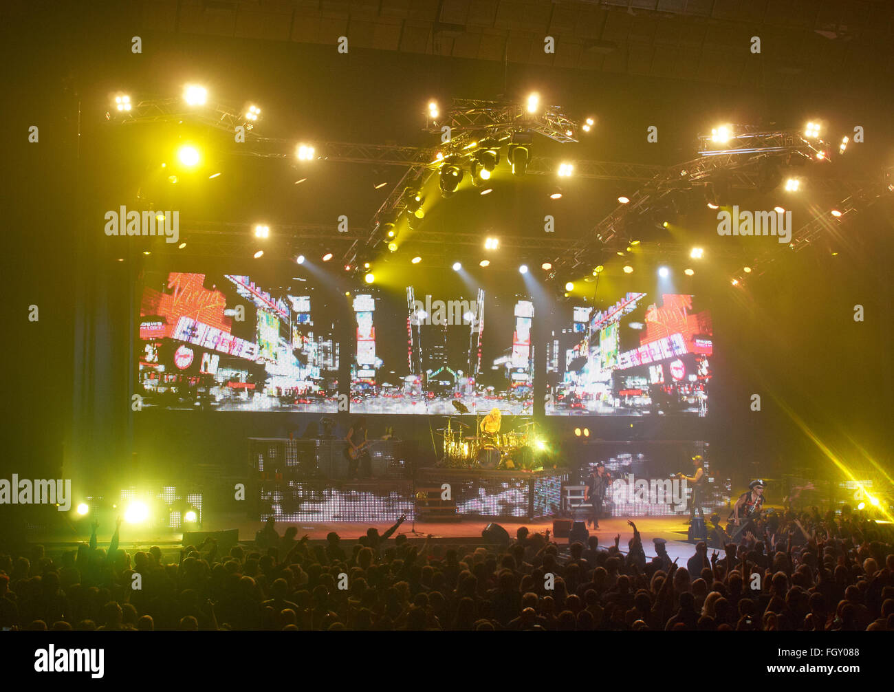 DNIPROPETROVSK, UKRAINE - OCTOBER 31, 2012: Crowd before the highlighted stage where the hard rock band Scorpions - Stock Image