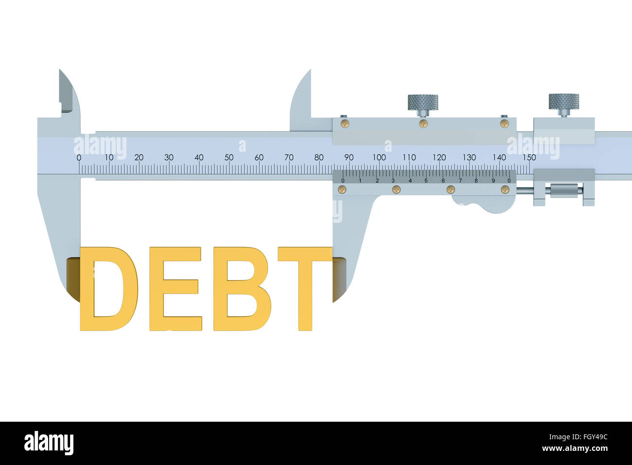 Debt concept isolated on the white background - Stock Image